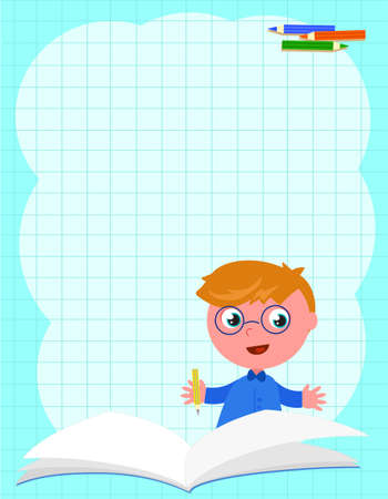 Smiling schoolboy and open book on a squared sheet light blue background vector illustration Vettoriali