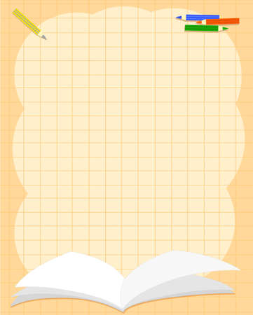 Elementary school orange background with open book and colored pencils, vector illustration