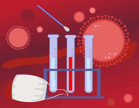 Coronavirus test with swab stick on red background, vector illustration 일러스트