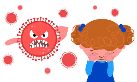 Crying girl afraid of Coronavirus vector illustration