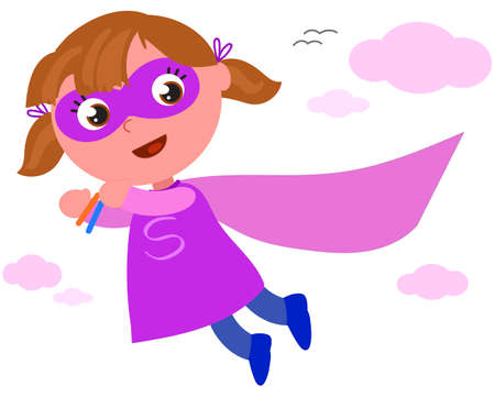 Happy superhero girl in violet costume flying in the sky, cartoon vector illustration