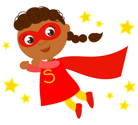 Happy superhero girl in red costume flying in a sky full of stars, isolated cartoon vector illustration