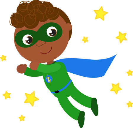 Happy superhero boy in green costume with lightning bolt flying in a starry sky, cartoon vector illustration Vettoriali