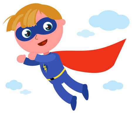 Happy superhero boy in blue costume with lightning bolt flying in the sky, cartoon vector illustration Vettoriali