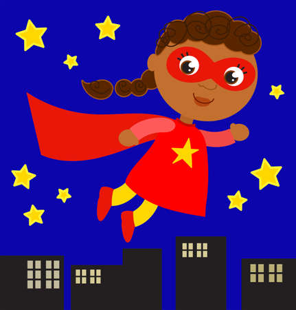 Smiling hero girl in red costume flies in the night sky over cityscape, cartoon vector illustration