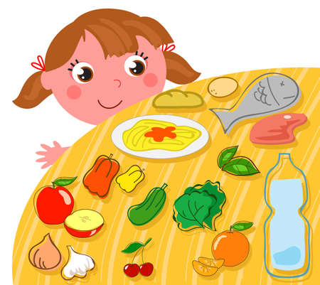Cute cartoon girl looking on a table full of healthy food, vector illustration
