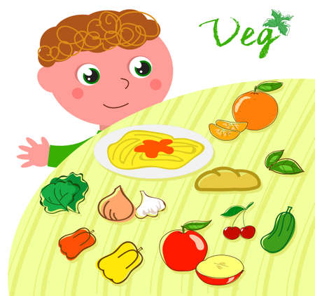 Happy vegetarian child and table full of healthy food, cartoon vector illustration