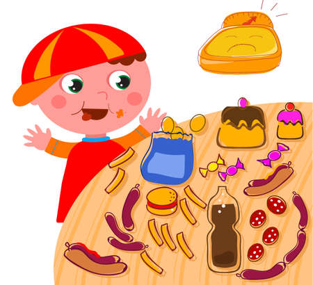 Greedy obese child and table full of bad junk food, cartoon vector illustration