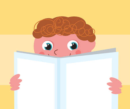 Smiling kid reading a book with blank cover, cartoon vector illustration Vettoriali
