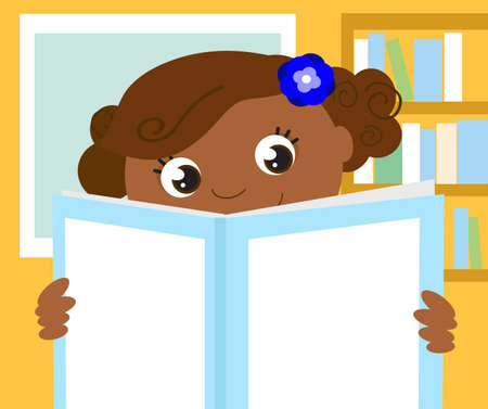 Smiling student studying in a book with blank cover in her room, cartoon vector illustration