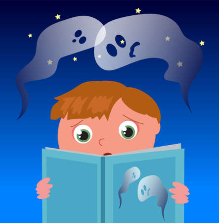 Frightened kid reading a ghost book, cartoon vector illustration