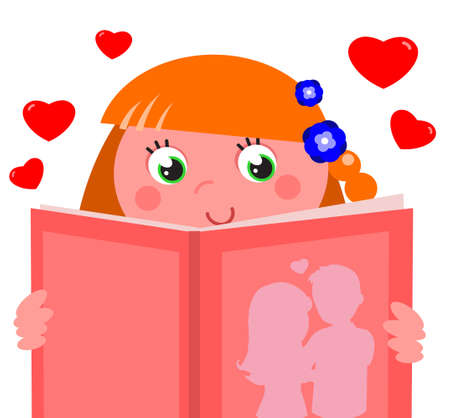 Cute girl with red hair reading a pink romantic book, cartoon vector illustration