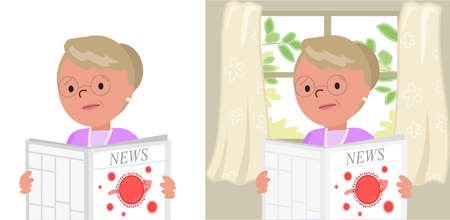 Worried Grandmother reading bad news about Covid-19 in a newspaper, cartoon vector illustration Vettoriali