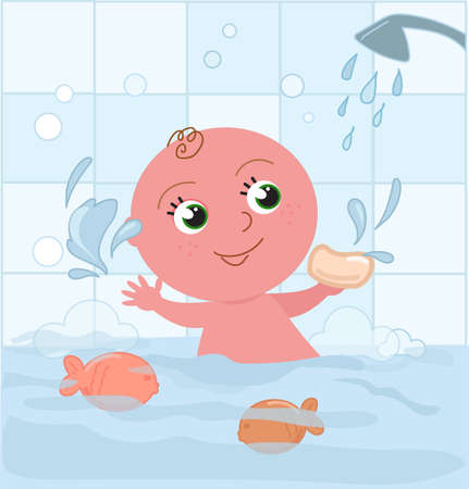 Cute baby boy playing with water having a bath, cartoon vector illustration