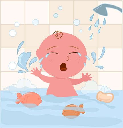 Crying baby boy throws a tantrum in bathtub, afraid of water, cartoon vector illustration