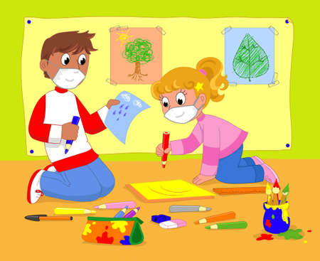 Boy and girl in art class with protection masks, cartoon illustration
