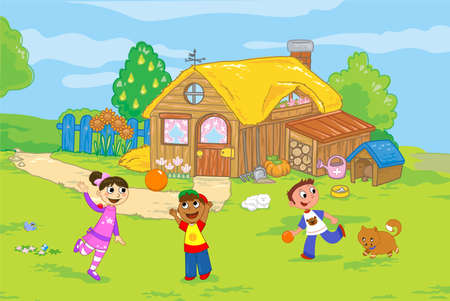 Cartoon farmhouse with children playing in countryside, illustration