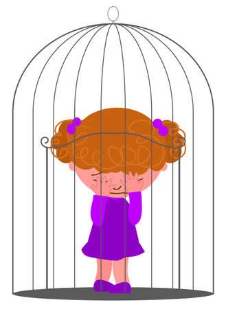 Prisoner girl in a bird cage, concept illustration for a child feeling lonely and depressed 일러스트