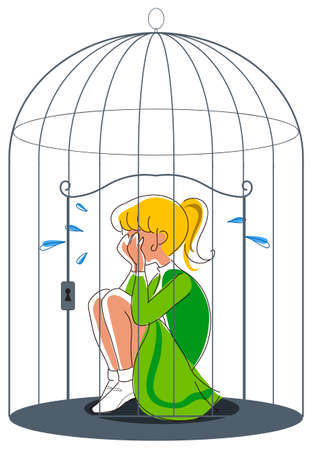 Sad cheerleader in a bird cage, concept illustration for a young woman feeling lonely and depressed