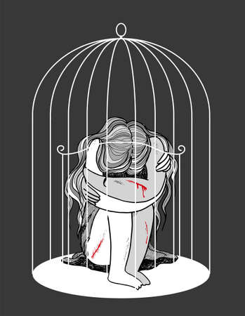 Self-harming young woman locked in a birdcage, concept vector illustration 일러스트