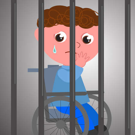 Boy on wheelchair behind bars, sad for the lack of freedom, concept vector illustration Vettoriali