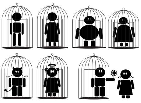Men and women locked in bird cages, vector concept illustration about lack of liberty