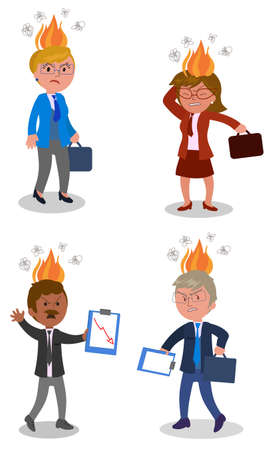 Very angry business people in suit and tie with fire flames on head, concept vector illustration Vecteurs