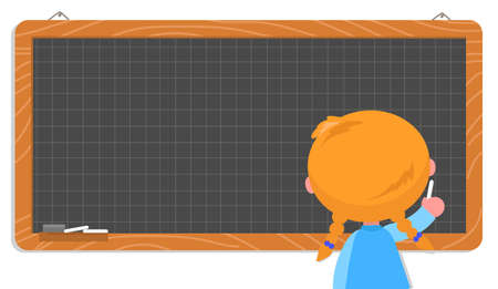 Girl with braids at school writes on blank chalkboard, isolated vector illustration Vettoriali