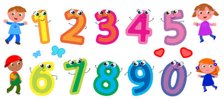 Cute cartoon numbers with smiling faces and happy children, vector illustration