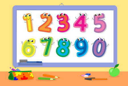 School whiteboard with cute cartoon numbers, vector illustration