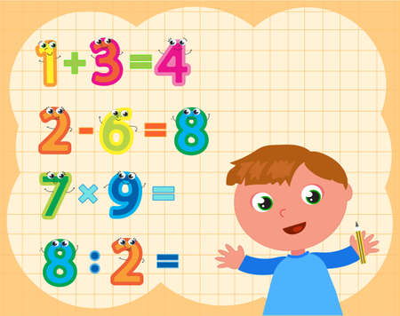 Schoolboy doing maths operations with funny numbers, cartoon vector illustration