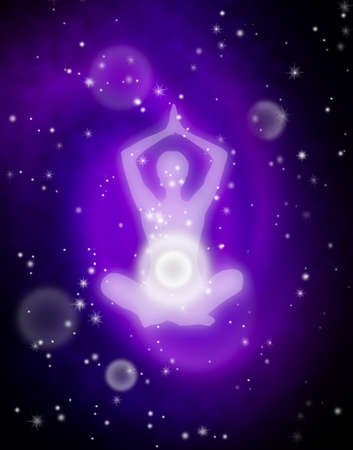Aura, human energy body, in lotus meditation pose. Deep outer space in the background, digital illustration