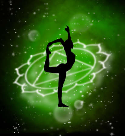 Spiritual woman in yoga pose, green deep space in background, fantasy digital illustration