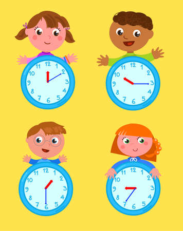 Boys and girls with clocks tell time set, cartoon vector illustration Vettoriali