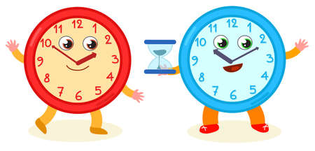 Two funny clocks with cartoon smiling face, vector illustration for little kids Vettoriali