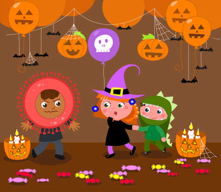 Halloween party and children with costumes: dinosaur, witch and… coronavirus! Cartoon vector illustration