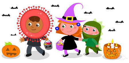 Children in Halloween costumes, witch, dinosaur and coronavirus, doing trick or treat. Isolated cartoon vector illustration