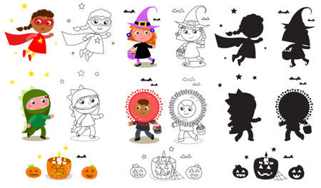 Children in Halloween costumes, witch, super hero, dinosaur and coronavirus. Isolated cartoon vector illustration, coloring and silhouettes.