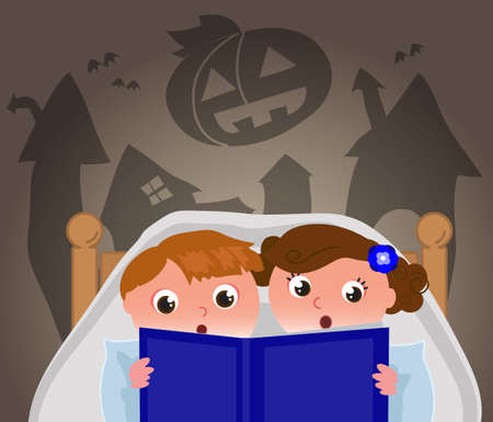 Brother and sister under the blanket in bedroom read a scary Halloween book, cartoon vector illustration