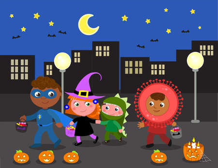 Kids in Halloween costumes, witch, dinosaur, superhero and coronavirus doing trick or treat in the city. Cartoon vector illustration