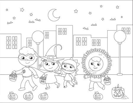 Kids in Halloween costumes, witch, dinosaur, superhero and coronavirus doing trick or treat in the city. Cartoon coloring vector illustration