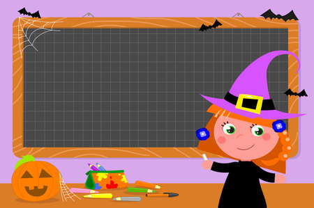 Checkered chalkboard in school class with Halloween decoration and witch school girl vector illustration