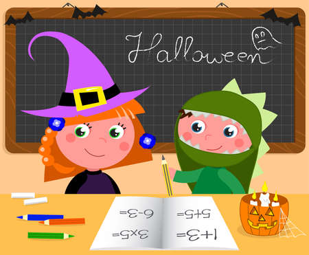 Boy and girl in Halloween costumes at the desk in classroom, cartoon vector illustration