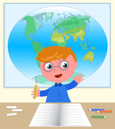 Boy with hand up at his desk at school in geography class, vector digital illustration Vettoriali