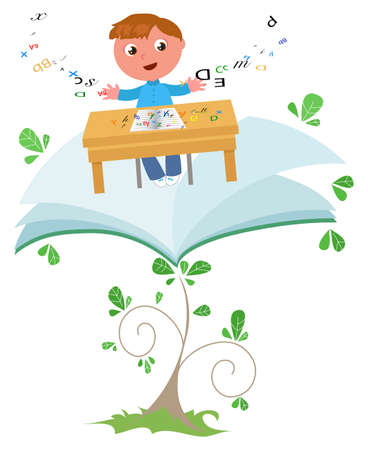 Smiling schoolkid flying with school desk on a book plant, vector cartoon illustration Vettoriali