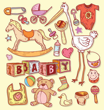 items: baby icons illustration.