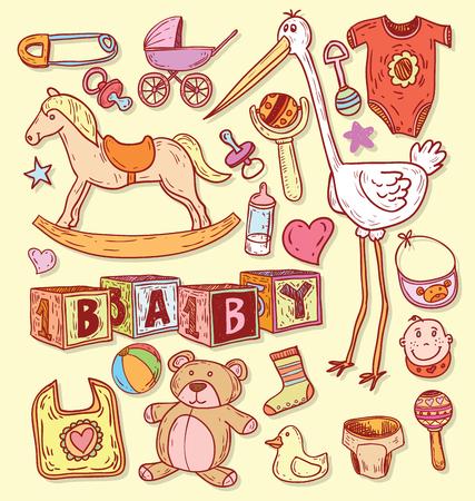 baby crib: baby icons illustration.
