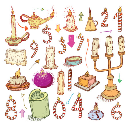 birthday religious: collection of candles, candles icons,  drawn illustration. Illustration