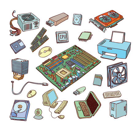 pc: Computer Hardware Icons. PC Components.