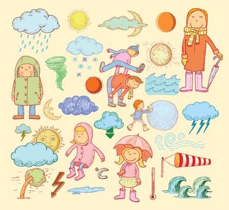 rainy day: pet weather elements, illustration.